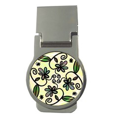 Completely Seamless Tileable Doodle Flower Art Money Clips (Round)