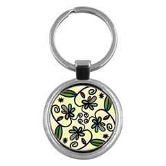 Completely Seamless Tileable Doodle Flower Art Key Chains (Round)