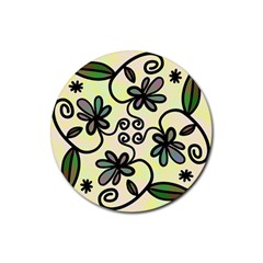 Completely Seamless Tileable Doodle Flower Art Rubber Coaster (Round)
