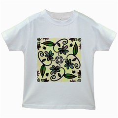 Completely Seamless Tileable Doodle Flower Art Kids White T-Shirts