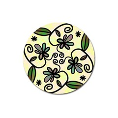 Completely Seamless Tileable Doodle Flower Art Magnet 3  (Round)