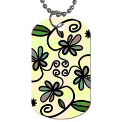 Completely Seamless Tileable Doodle Flower Art Dog Tag (one Side)
