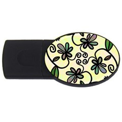 Completely Seamless Tileable Doodle Flower Art USB Flash Drive Oval (2 GB)