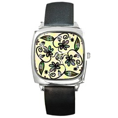 Completely Seamless Tileable Doodle Flower Art Square Metal Watch