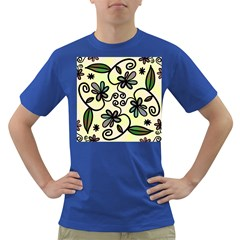Completely Seamless Tileable Doodle Flower Art Dark T Shirt