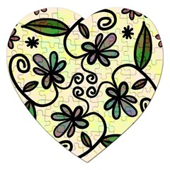 Completely Seamless Tileable Doodle Flower Art Jigsaw Puzzle (heart)