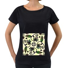 Completely Seamless Tileable Doodle Flower Art Women s Loose Fit T Shirt (black)