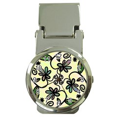 Completely Seamless Tileable Doodle Flower Art Money Clip Watches