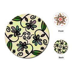 Completely Seamless Tileable Doodle Flower Art Playing Cards (Round)