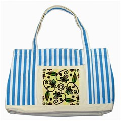 Completely Seamless Tileable Doodle Flower Art Striped Blue Tote Bag