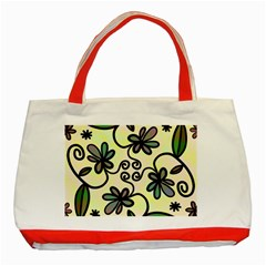 Completely Seamless Tileable Doodle Flower Art Classic Tote Bag (red)