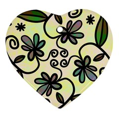 Completely Seamless Tileable Doodle Flower Art Heart Ornament (Two Sides)