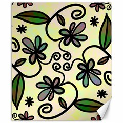 Completely Seamless Tileable Doodle Flower Art Canvas 8  x 10