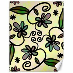 Completely Seamless Tileable Doodle Flower Art Canvas 12  x 16