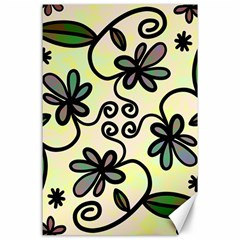 Completely Seamless Tileable Doodle Flower Art Canvas 24  X 36