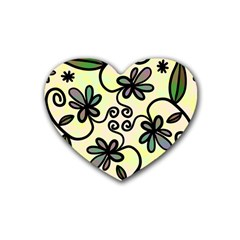 Completely Seamless Tileable Doodle Flower Art Rubber Coaster (heart)