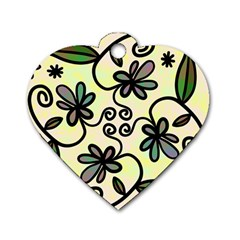 Completely Seamless Tileable Doodle Flower Art Dog Tag Heart (One Side)
