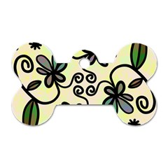 Completely Seamless Tileable Doodle Flower Art Dog Tag Bone (One Side)
