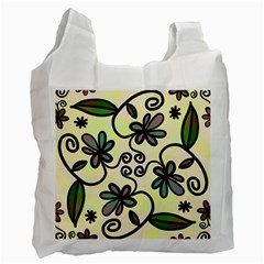 Completely Seamless Tileable Doodle Flower Art Recycle Bag (Two Side)