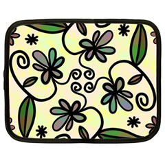 Completely Seamless Tileable Doodle Flower Art Netbook Case (XL)