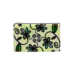 Completely Seamless Tileable Doodle Flower Art Cosmetic Bag (Small)