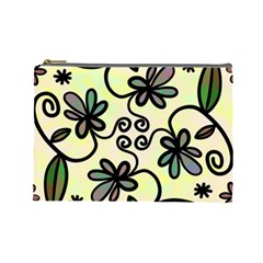 Completely Seamless Tileable Doodle Flower Art Cosmetic Bag (Large)