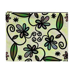 Completely Seamless Tileable Doodle Flower Art Cosmetic Bag (XL)