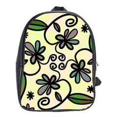 Completely Seamless Tileable Doodle Flower Art School Bags(Large)