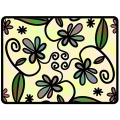 Completely Seamless Tileable Doodle Flower Art Fleece Blanket (Large)