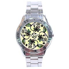 Completely Seamless Tileable Doodle Flower Art Stainless Steel Analogue Watch