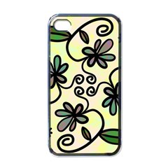Completely Seamless Tileable Doodle Flower Art Apple Iphone 4 Case (black)