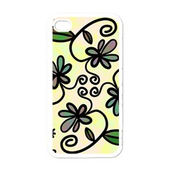 Completely Seamless Tileable Doodle Flower Art Apple iPhone 4 Case (White)