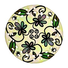 Completely Seamless Tileable Doodle Flower Art Ornament (Round Filigree)