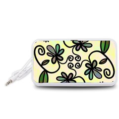 Completely Seamless Tileable Doodle Flower Art Portable Speaker (White)