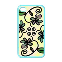 Completely Seamless Tileable Doodle Flower Art Apple iPhone 4 Case (Color)