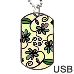 Completely Seamless Tileable Doodle Flower Art Dog Tag USB Flash (Two Sides)