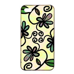 Completely Seamless Tileable Doodle Flower Art Apple iPhone 4/4s Seamless Case (Black)
