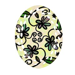Completely Seamless Tileable Doodle Flower Art Oval Filigree Ornament (Two Sides)
