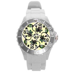 Completely Seamless Tileable Doodle Flower Art Round Plastic Sport Watch (L)