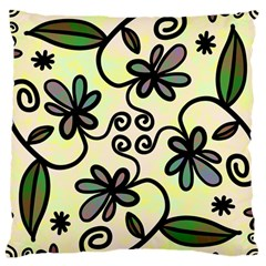 Completely Seamless Tileable Doodle Flower Art Large Cushion Case (two Sides)