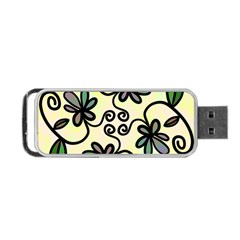 Completely Seamless Tileable Doodle Flower Art Portable Usb Flash (one Side)