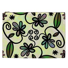 Completely Seamless Tileable Doodle Flower Art Cosmetic Bag (XXL)