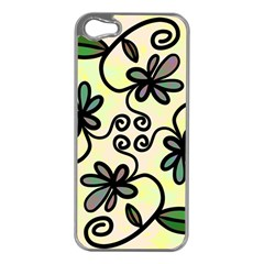 Completely Seamless Tileable Doodle Flower Art Apple iPhone 5 Case (Silver)