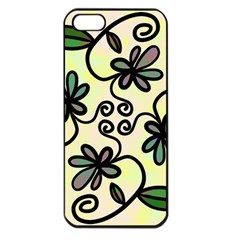 Completely Seamless Tileable Doodle Flower Art Apple iPhone 5 Seamless Case (Black)