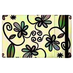 Completely Seamless Tileable Doodle Flower Art Apple iPad 3/4 Flip Case