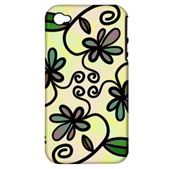 Completely Seamless Tileable Doodle Flower Art Apple iPhone 4/4S Hardshell Case (PC+Silicone)