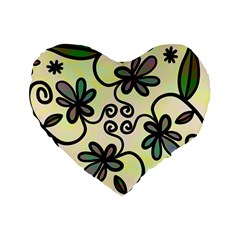 Completely Seamless Tileable Doodle Flower Art Standard 16  Premium Heart Shape Cushions