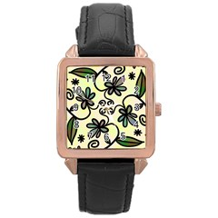 Completely Seamless Tileable Doodle Flower Art Rose Gold Leather Watch