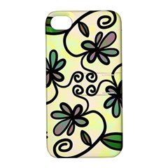 Completely Seamless Tileable Doodle Flower Art Apple iPhone 4/4S Hardshell Case with Stand