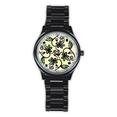 Completely Seamless Tileable Doodle Flower Art Stainless Steel Round Watch